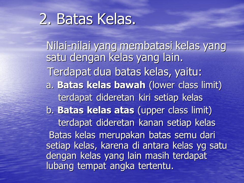 1. Kelas – kelas. Kelas adalah kelompok nilai data atau variabel