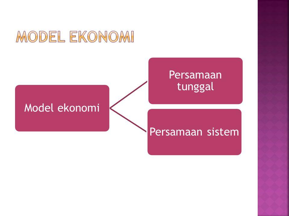 Model ekonomi Persamaan tunggal Persamaan sistem