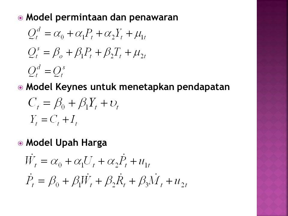  Model permintaan dan penawaran  Model Keynes untuk menetapkan pendapatan  Model Upah Harga