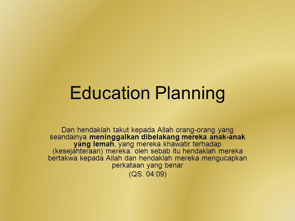 Education Planning Dan hendaklah takut kepada Allah orang-orang yang seandainya meninggalkan dibelakang mereka anak-anak yang lemah, yang mereka khawa