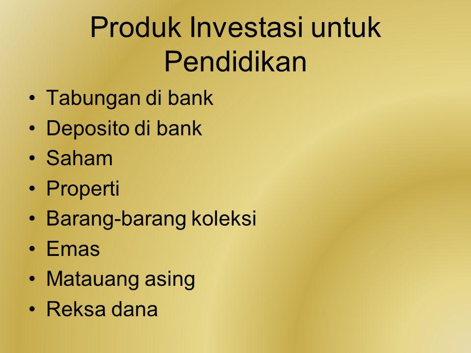 Produk Investasi untuk Pendidikan Tabungan di bank Deposito di bank Saham Properti Barang-barang koleksi Emas Matauang asing Reksa dana