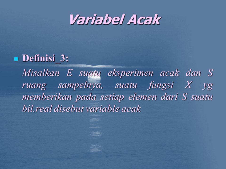 Variabel Acak Definisi_3: Definisi_3: Misalkan E suatu eksperimen acak dan S ruang sampelnya, suatu fungsi X yg memberikan pada setiap elemen dari S suatu bil.real disebut variable acak