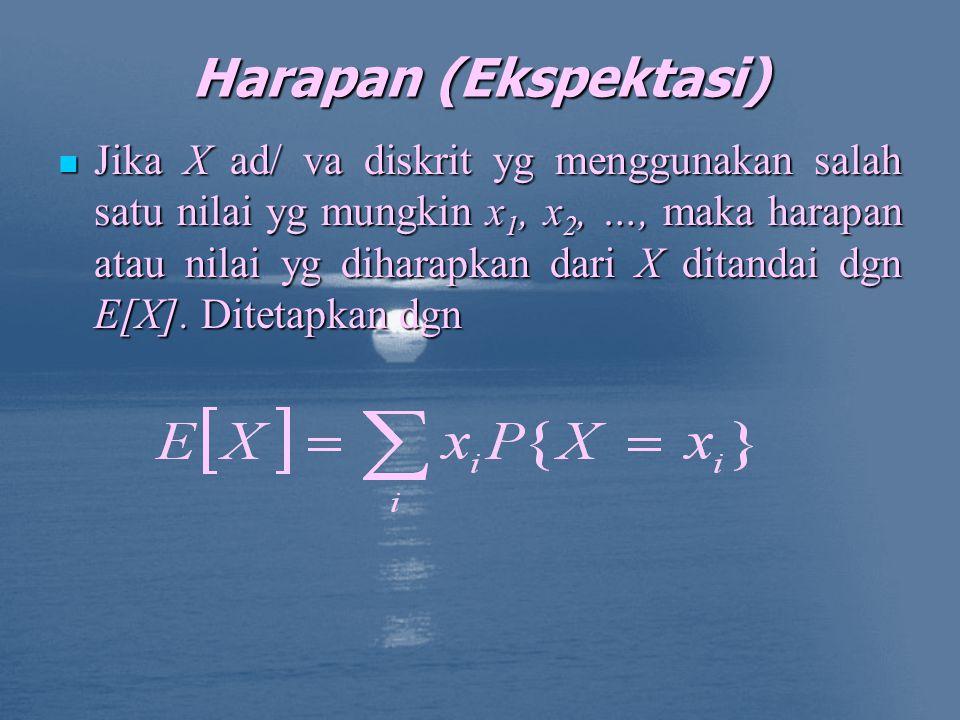 Harapan (Ekspektasi) Jika X ad/ va diskrit yg menggunakan salah satu nilai yg mungkin x 1, x 2, …, maka harapan atau nilai yg diharapkan dari X ditandai dgn E[X].