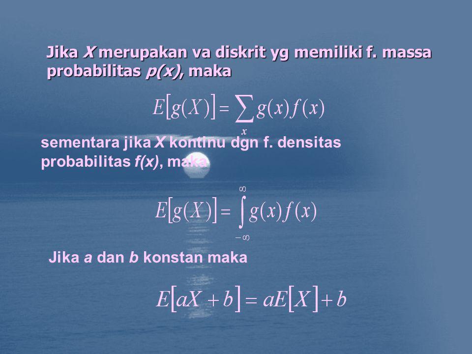 Jika X merupakan va diskrit yg memiliki f.