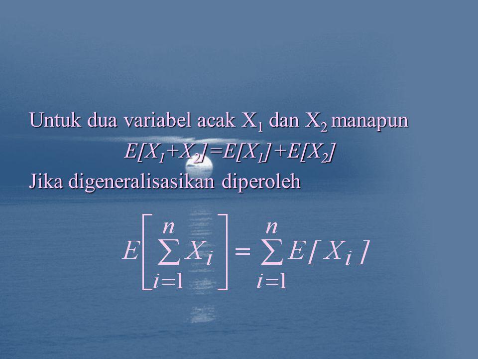 Untuk dua variabel acak X 1 dan X 2 manapun E[X 1 +X 2 ]=E[X 1 ]+E[X 2 ] Jika digeneralisasikan diperoleh