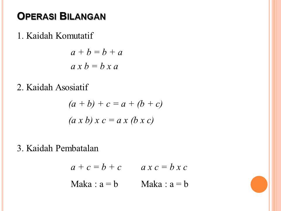 O PERASI B ILANGAN 1. Kaidah Komutatif a + b = b + a a x b = b x a 2. Kaidah Asosiatif (a + b) + c = a + (b + c) (a x b) x c = a x (b x c) 3. Kaidah P