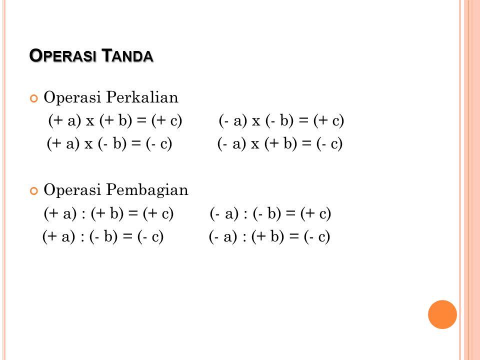 O PERASI T ANDA Operasi Perkalian (+ a) x (+ b) = (+ c) (- a) x (- b) = (+ c) (+ a) x (- b) = (- c) (- a) x (+ b) = (- c) Operasi Pembagian (+ a) : (+