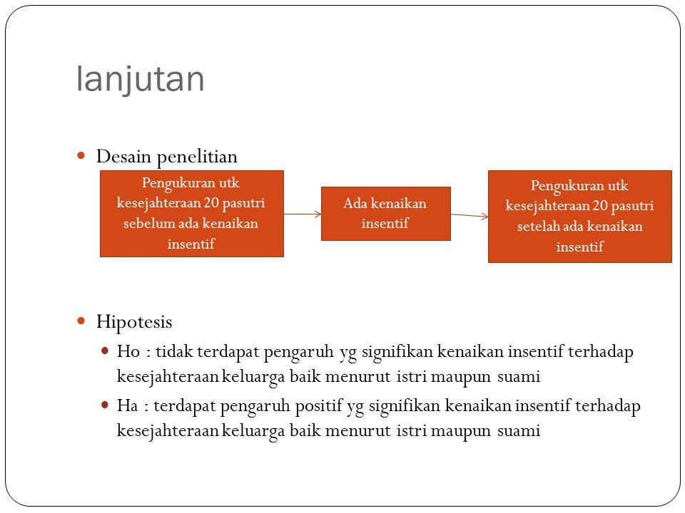lanjutan Desain penelitian Hipotesis Ho : tidak terdapat pengaruh yg signifikan kenaikan insentif terhadap kesejahteraan keluarga baik menurut istri m