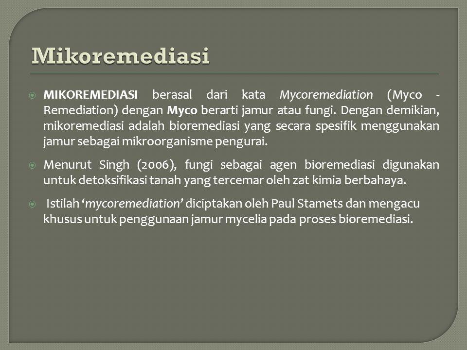  MIKOREMEDIASI berasal dari kata Mycoremediation (Myco - Remediation) dengan Myco berarti jamur atau fungi. Dengan demikian, mikoremediasi adalah bio