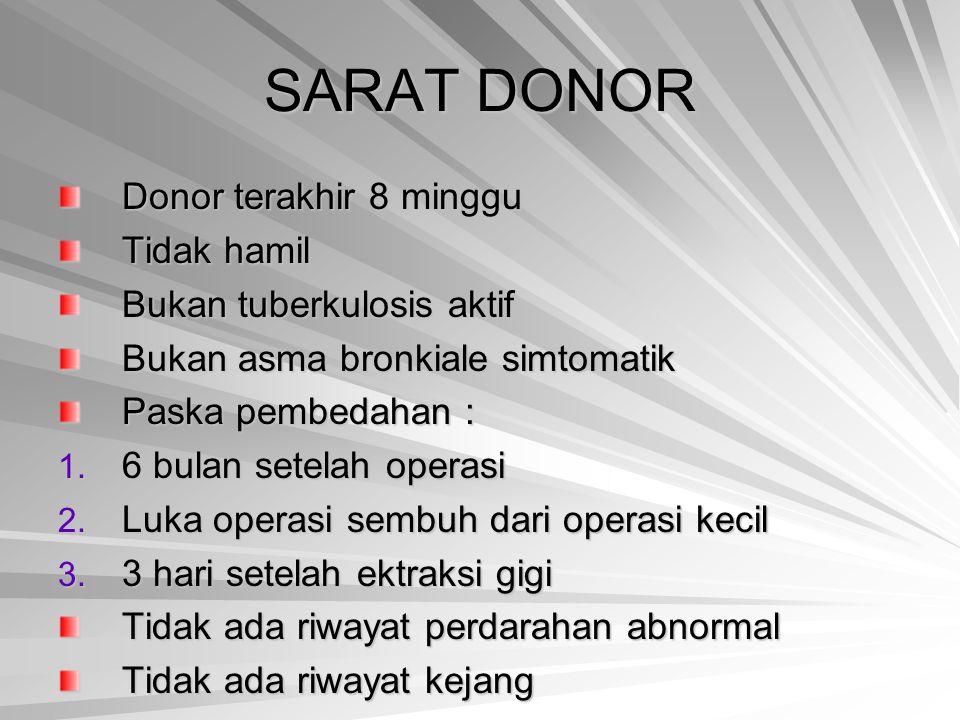 SARAT DONOR Donor terakhir 8 minggu Tidak hamil Bukan tuberkulosis aktif Bukan asma bronkiale simtomatik Paska pembedahan : 1. 6 bulan setelah operasi
