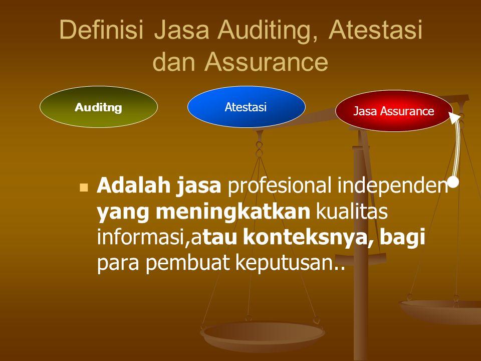 Jasa Atestasi Auditng Auditng Mencakup perolehan dan penilaian bukti yang mendasari laporan keuangan historis suatu entitas yang berisi asersi yang di