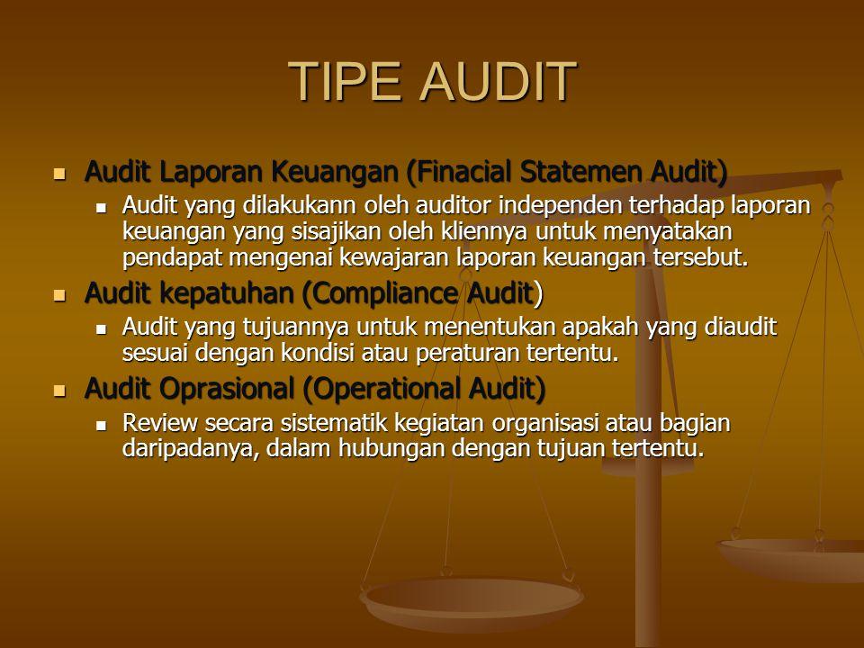 TIPE AUDITOR Audit Lap. Keu Laporan berisi pendaptan auditor atas kepatuhan perorangan atau organisasi terhadap kebijakan perundangan peraturan Lapora