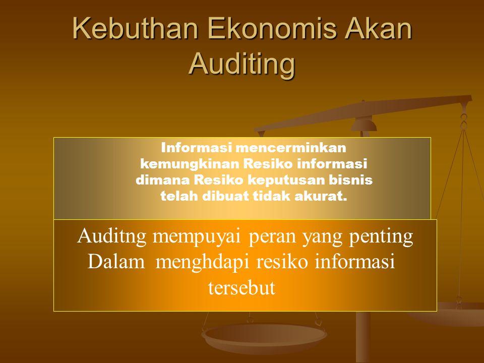 Permintaan untuk Auditing dan Assurance Perkembangan bentuk badan usaha dan perluasan ekonomi dunia selama 200 tahun terakhir telah menimbulkan permin