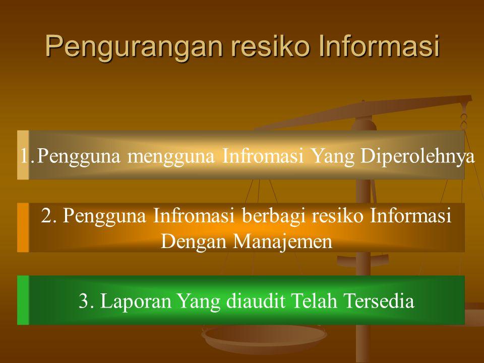 Penyebab Penyeba Resiko Informasi 1.Jauhnya Sumber Informasi 2. Bias dab Motif Penyedia Informasi 3. Jumlah data yang sangat besar
