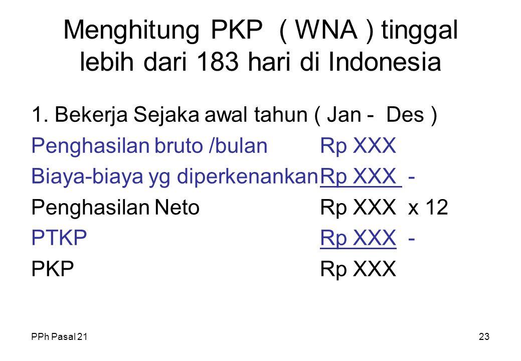 PPh Pasal 2122 Menghitung PKP ( WNI ) 4. Berhenti karena meninggal sebelum tahun pajak berakhir ( misal meninggal Agustus ) Penghasilan bruto /bulanRp
