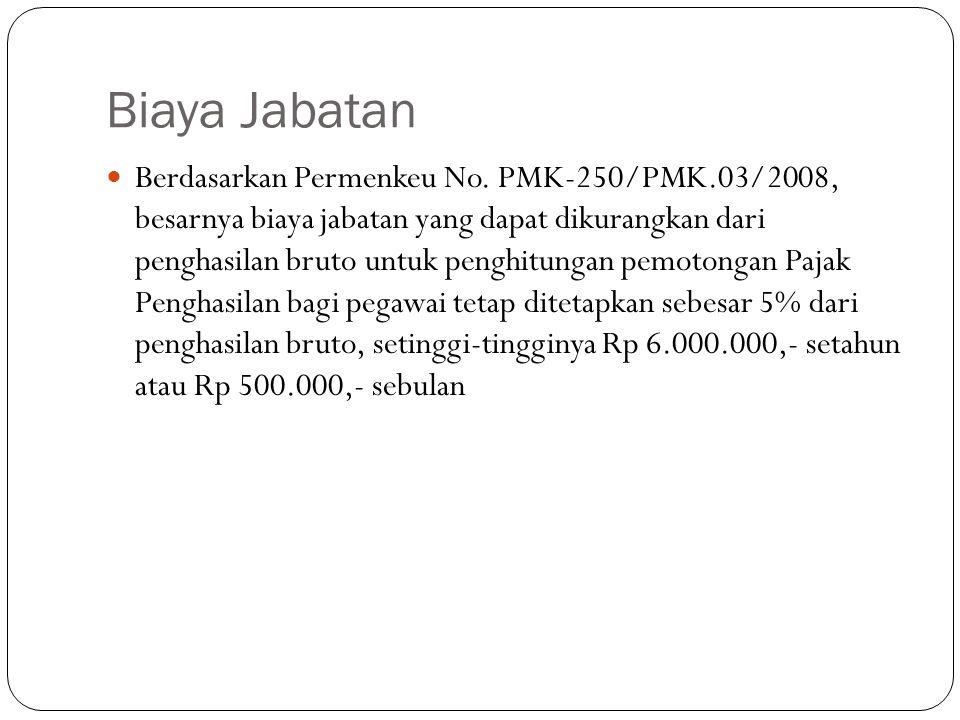 Biaya Jabatan Berdasarkan Permenkeu No. PMK-250/PMK.03/2008, besarnya biaya jabatan yang dapat dikurangkan dari penghasilan bruto untuk penghitungan p