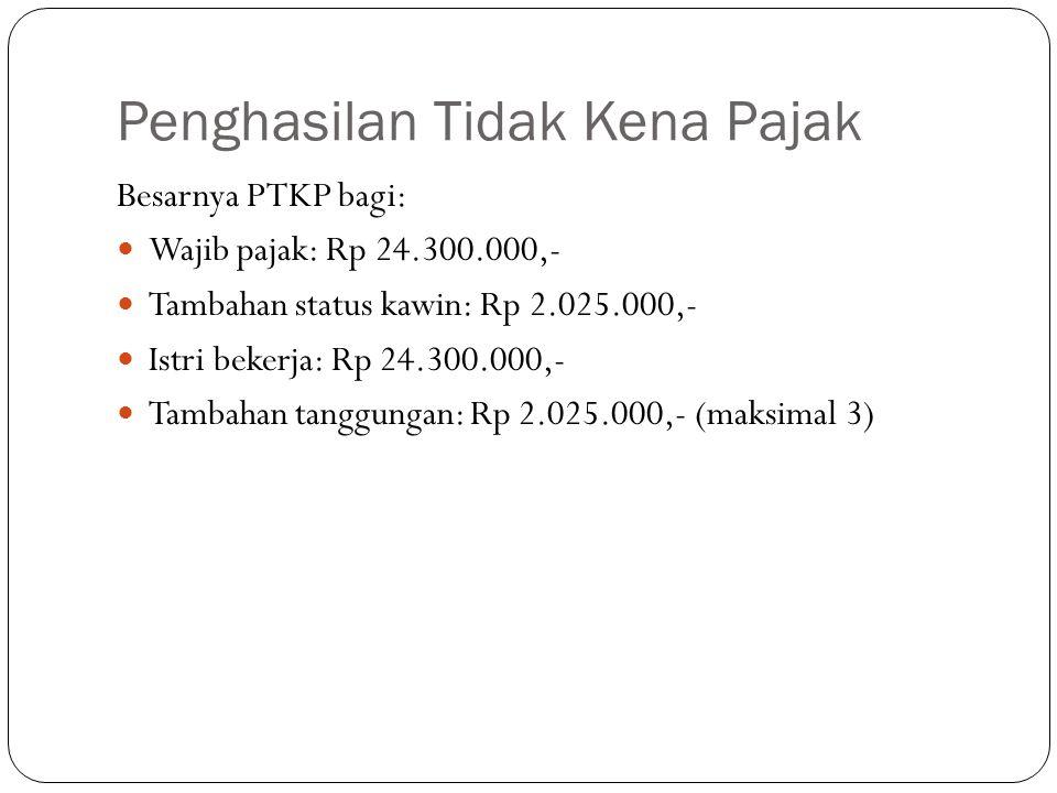 Penghasilan Tidak Kena Pajak Besarnya PTKP bagi: Wajib pajak: Rp 24.300.000,- Tambahan status kawin: Rp 2.025.000,- Istri bekerja: Rp 24.300.000,- Tam