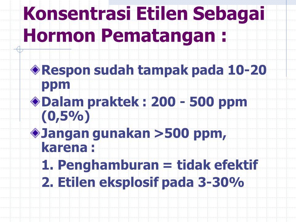 Konsentrasi Etilen Sebagai Hormon Pematangan : Respon sudah tampak pada 10-20 ppm Dalam praktek : 200 - 500 ppm (0,5%) Jangan gunakan >500 ppm, karena : 1.