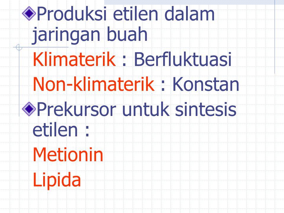 Produksi etilen dalam jaringan buah Klimaterik : Berfluktuasi Non-klimaterik : Konstan Prekursor untuk sintesis etilen : Metionin Lipida