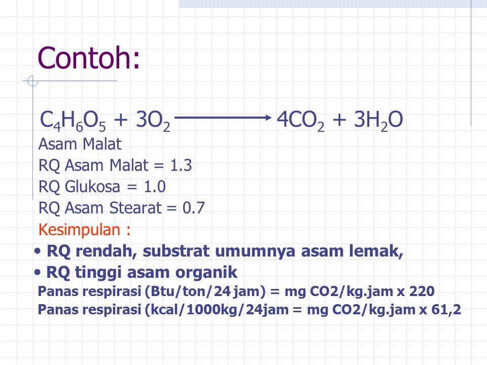 Contoh: C 4 H 6 O 5 + 3O 2 4CO 2 + 3H 2 O Asam Malat RQ Asam Malat = 1.3 RQ Glukosa = 1.0 RQ Asam Stearat = 0.7 Kesimpulan : RQ rendah, substrat umumnya asam lemak, RQ tinggi asam organik Panas respirasi (Btu/ton/24 jam) = mg CO2/kg.jam x 220 Panas respirasi (kcal/1000kg/24jam = mg CO2/kg.jam x 61,2