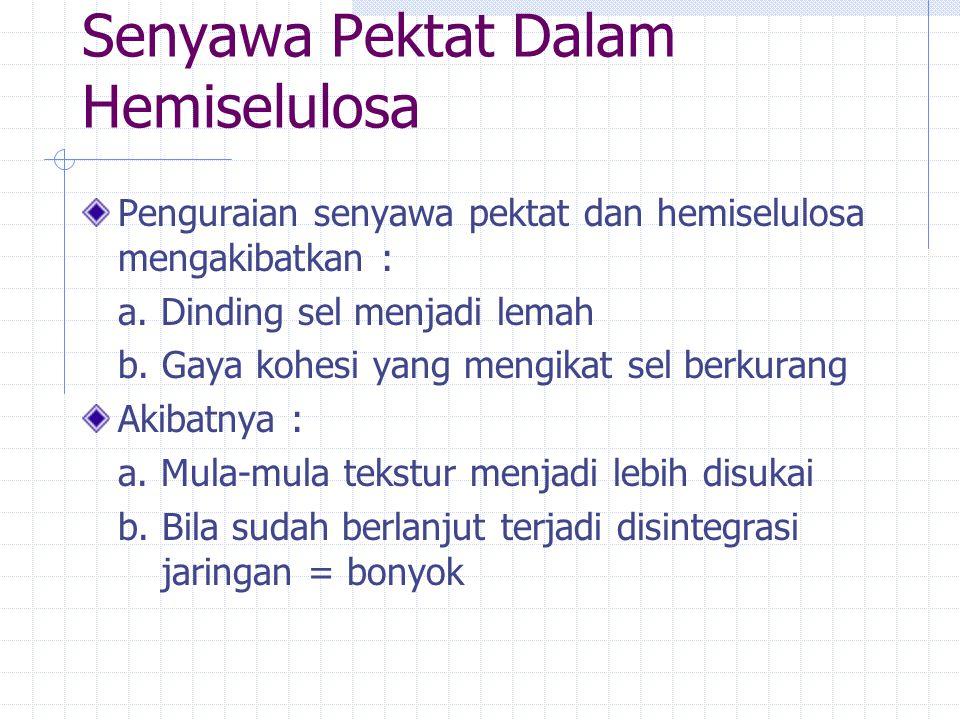 Senyawa Pektat Dalam Hemiselulosa Penguraian senyawa pektat dan hemiselulosa mengakibatkan : a.
