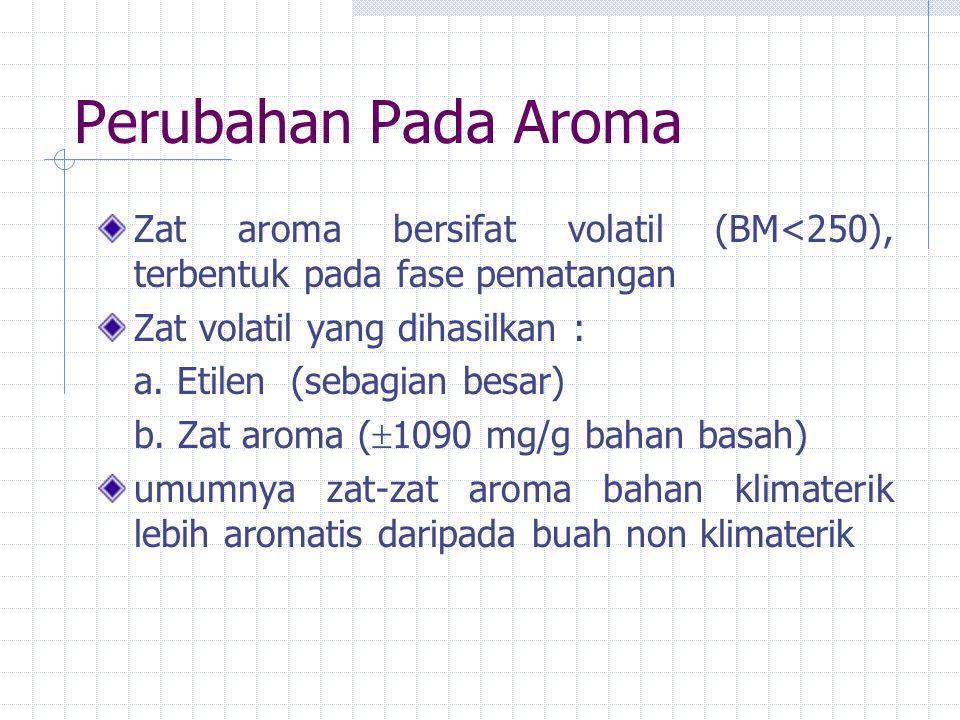 Perubahan Pada Aroma Zat aroma bersifat volatil (BM<250), terbentuk pada fase pematangan Zat volatil yang dihasilkan : a.