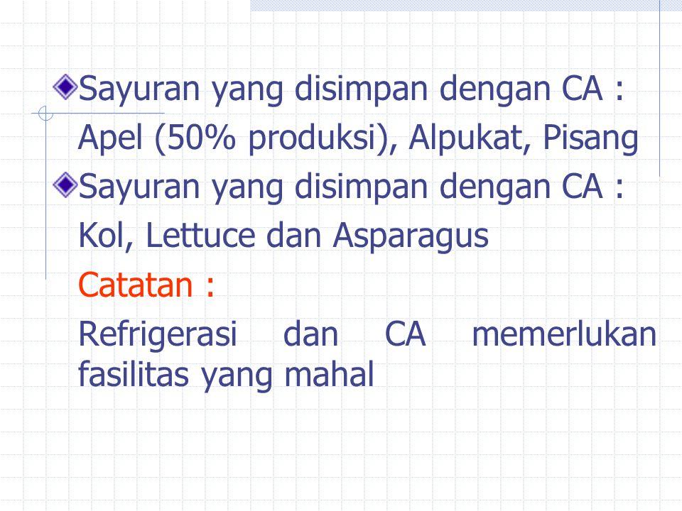 Sayuran yang disimpan dengan CA : Apel (50% produksi), Alpukat, Pisang Sayuran yang disimpan dengan CA : Kol, Lettuce dan Asparagus Catatan : Refrigerasi dan CA memerlukan fasilitas yang mahal