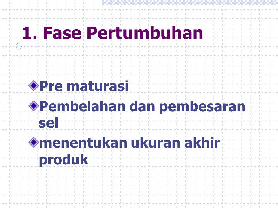 1. Fase Pertumbuhan Pre maturasi Pembelahan dan pembesaran sel menentukan ukuran akhir produk