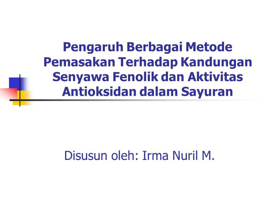 Pengaruh Berbagai Metode Pemasakan Terhadap Kandungan Senyawa Fenolik dan Aktivitas Antioksidan dalam Sayuran Disusun oleh: Irma Nuril M.