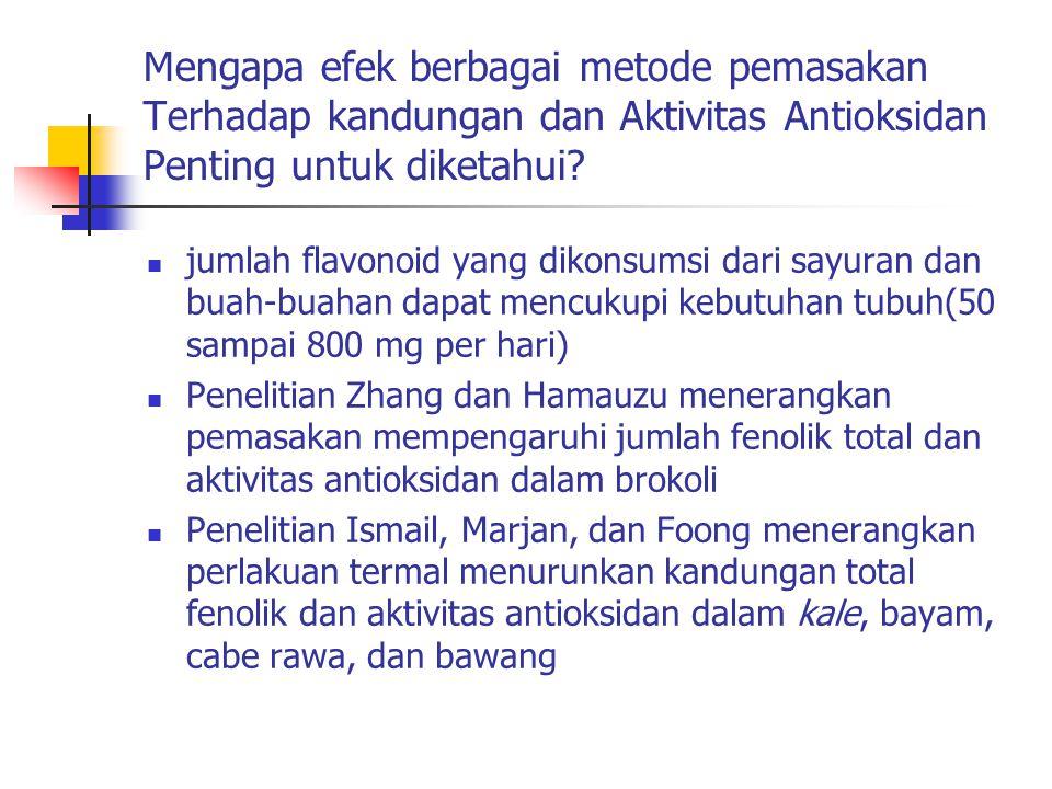 Mengapa efek berbagai metode pemasakan Terhadap kandungan dan Aktivitas Antioksidan Penting untuk diketahui? jumlah flavonoid yang dikonsumsi dari say