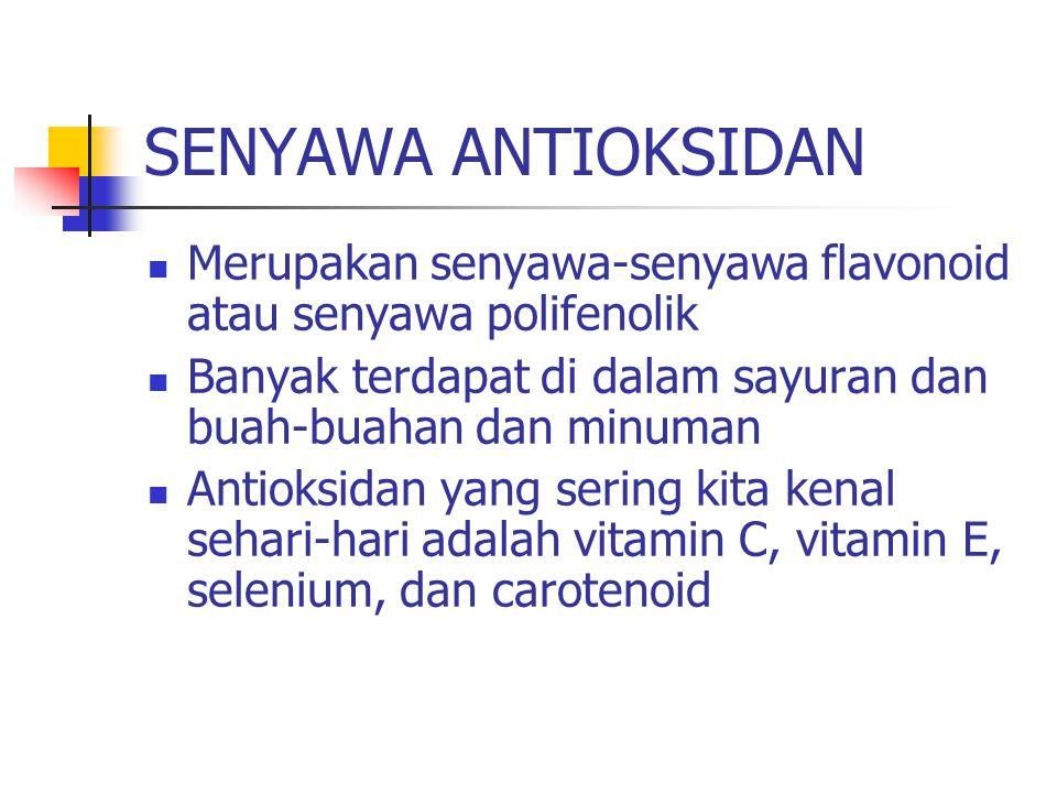 SENYAWA ANTIOKSIDAN Merupakan senyawa-senyawa flavonoid atau senyawa polifenolik Banyak terdapat di dalam sayuran dan buah-buahan dan minuman Antioksidan yang sering kita kenal sehari-hari adalah vitamin C, vitamin E, selenium, dan carotenoid