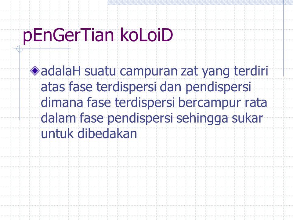 pEnGerTian koLoiD adalaH suatu campuran zat yang terdiri atas fase terdispersi dan pendispersi dimana fase terdispersi bercampur rata dalam fase pendi