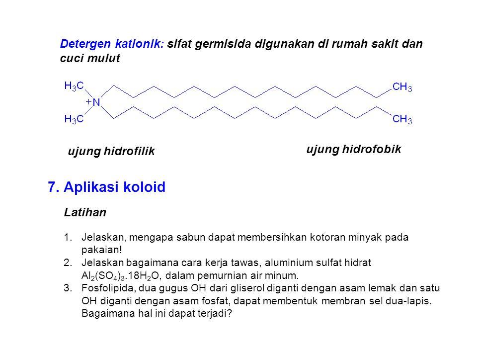 Detergen kationik: sifat germisida digunakan di rumah sakit dan cuci mulut ujung hidrofilik ujung hidrofobik Latihan 1.Jelaskan, mengapa sabun dapat m