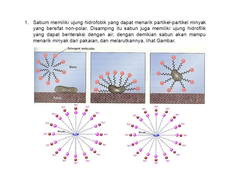 1.Sabum memiliki ujung hidrofobik yang dapat menarik partikel-partikel minyak yang bersifat non-polar. Disamping itu sabun juga memiliki ujung hidrofi