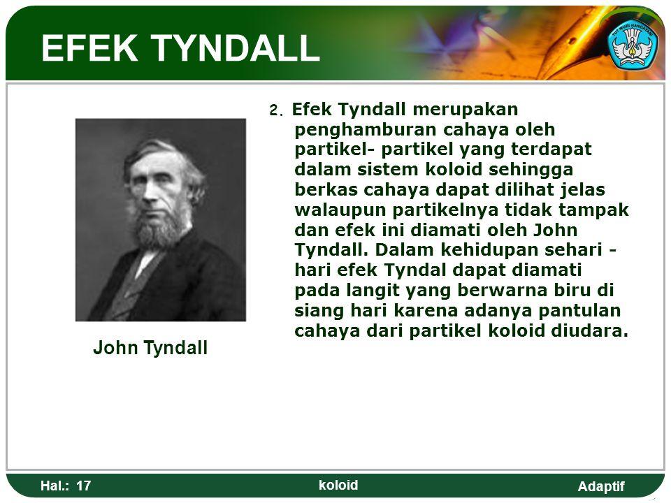 Adaptif EFEK TYNDALL 2. Efek Tyndall merupakan penghamburan cahaya oleh partikel- partikel yang terdapat dalam sistem koloid sehingga berkas cahaya da