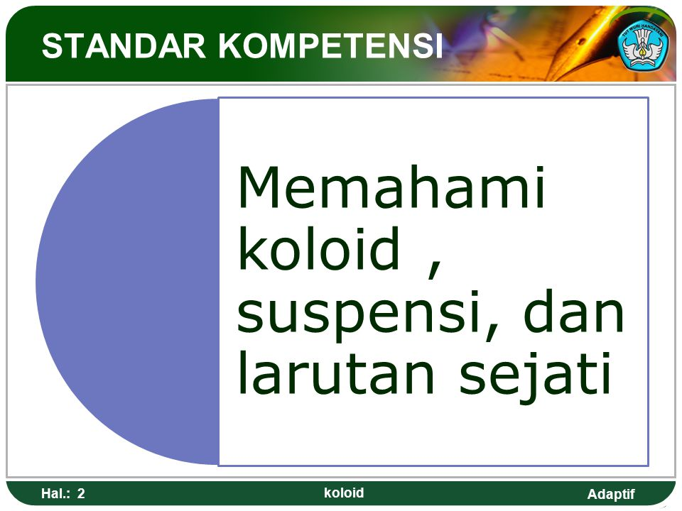 Adaptif STANDAR KOMPETENSI Memahami koloid, suspensi, dan larutan sejati Hal.: 2 koloid