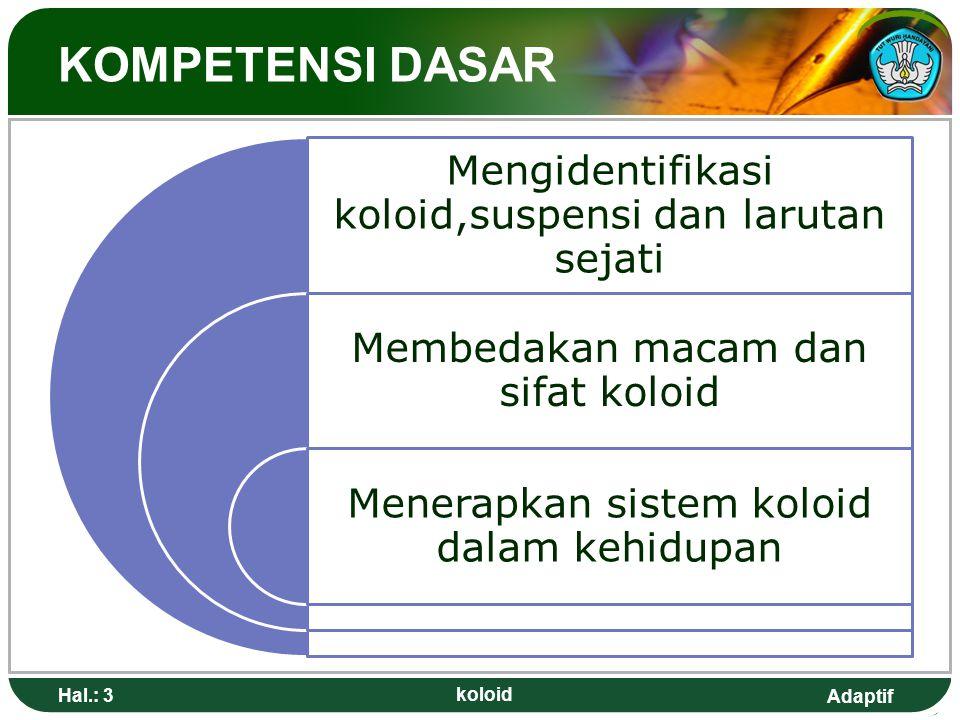 Adaptif TUJUAN PEMBELAJARAN 1.Siswa dapat membedakan suspensi kasar, larutan sejati dan koloid berdasarkn data pengamatan ( efek Tyndall, homogen/heterogen dan penyaringan) 2.Siswa dapat mengelompokkan jenis koloid berdasarkan fase terdispersi dan fase pendispersi 3.Siswa dapat mendeskripsikan jenis koloid 4.Siswa dapat menjelaskan proses pembuatn koloid Hal.: 4 koloid