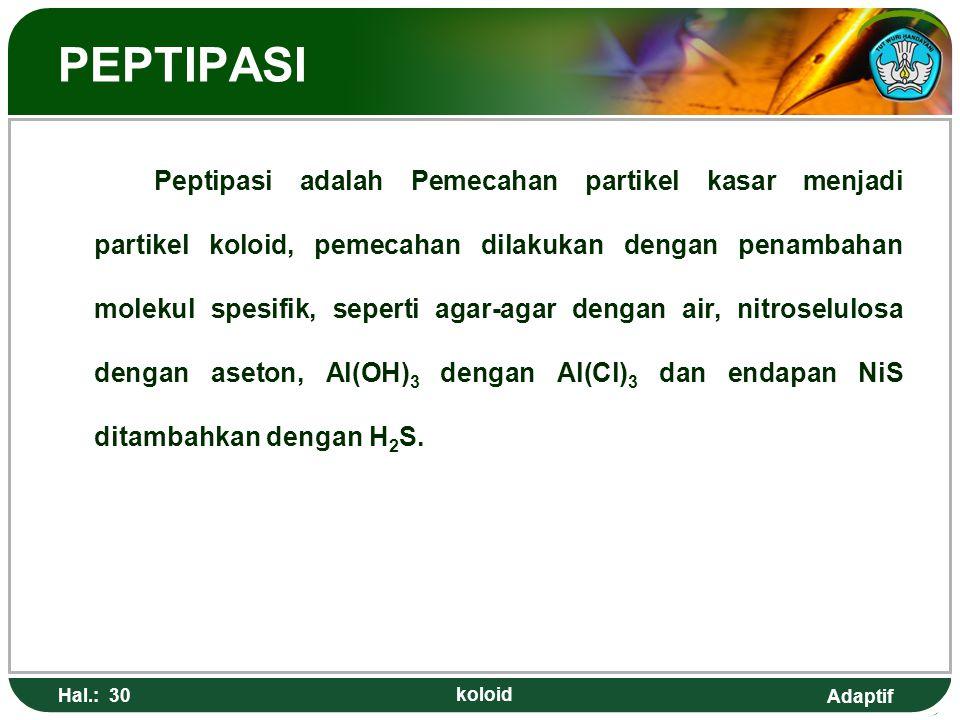 Adaptif PEPTIPASI Peptipasi adalah Pemecahan partikel kasar menjadi partikel koloid, pemecahan dilakukan dengan penambahan molekul spesifik, seperti a