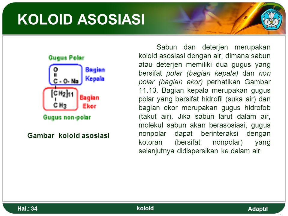 Adaptif KOLOID ASOSIASI Sabun dan deterjen merupakan koloid asosiasi dengan air, dimana sabun atau deterjen memiliki dua gugus yang bersifat polar (ba