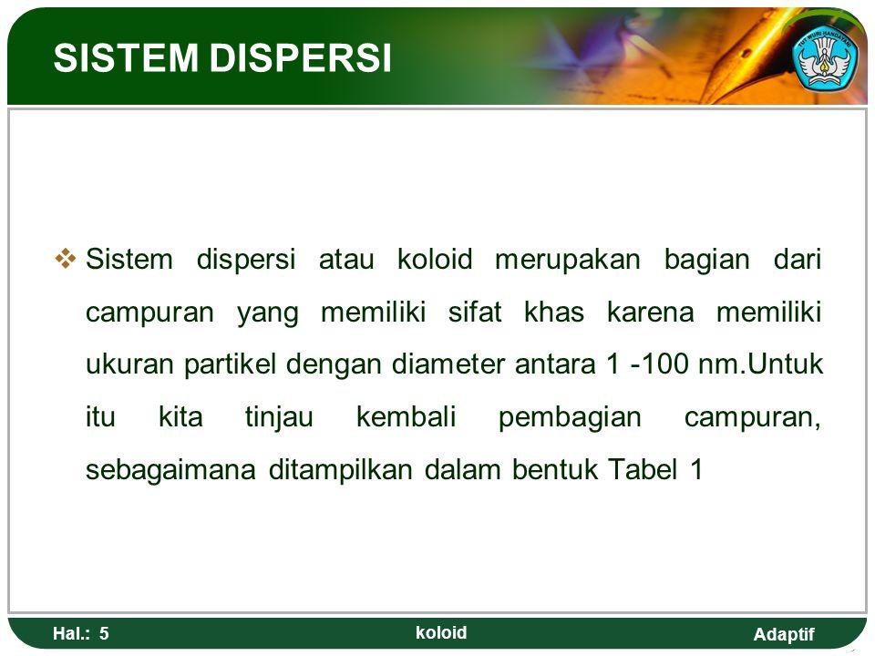Adaptif Hal.: 5 koloid SISTEM DISPERSI  Sistem dispersi atau koloid merupakan bagian dari campuran yang memiliki sifat khas karena memiliki ukuran pa