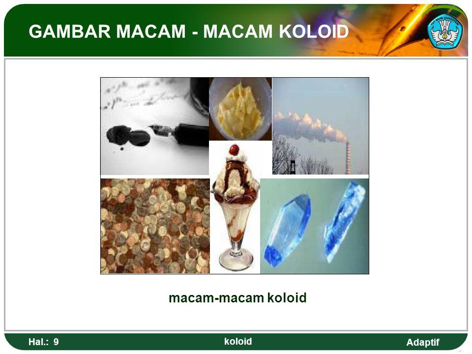 Adaptif MACAM - MACAM KOLOID  Sistem koloid terdiri dari dua fase, yaitu fasa dispersi dan medium pendispersi.