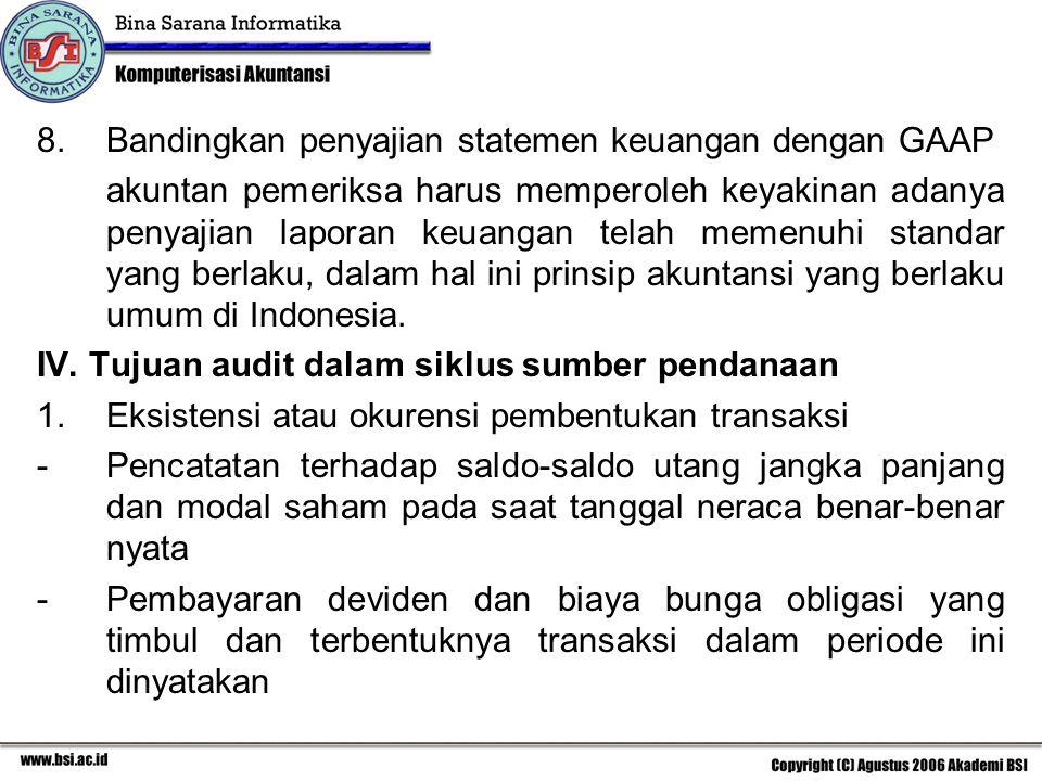 8.Bandingkan penyajian statemen keuangan dengan GAAP akuntan pemeriksa harus memperoleh keyakinan adanya penyajian laporan keuangan telah memenuhi standar yang berlaku, dalam hal ini prinsip akuntansi yang berlaku umum di Indonesia.