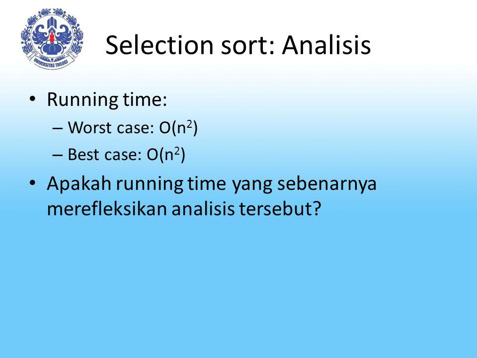 Selection sort: Analisis Running time: – Worst case: O(n 2 ) – Best case: O(n 2 ) Apakah running time yang sebenarnya merefleksikan analisis tersebut?