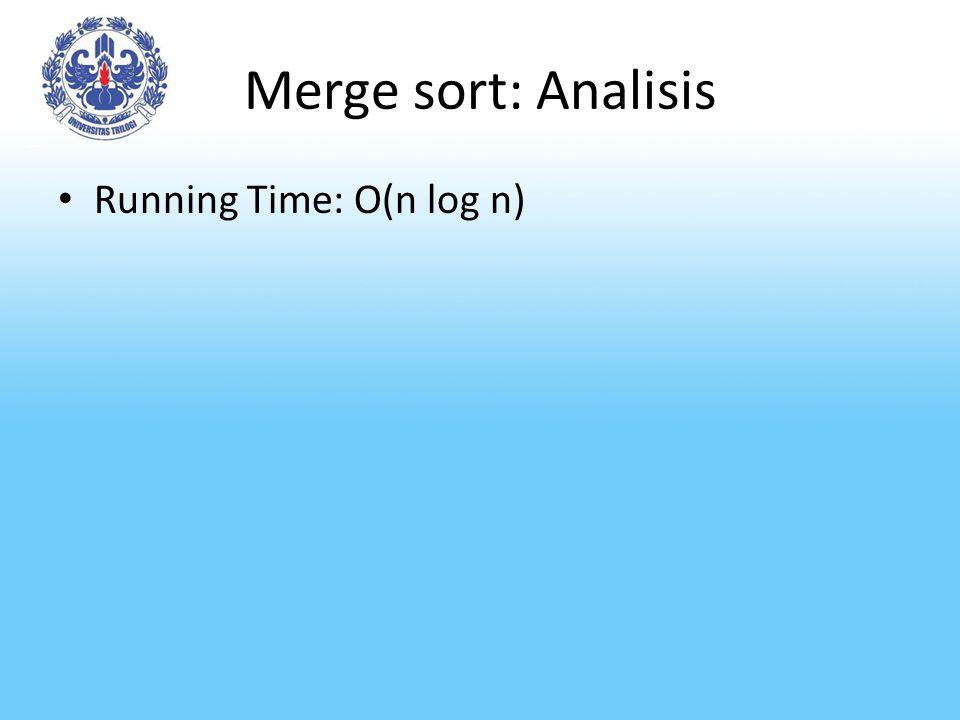 Merge sort: Analisis Running Time: O(n log n)