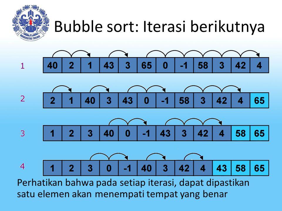 Bubble sort: Iterasi berikutnya Perhatikan bahwa pada setiap iterasi, dapat dipastikan satu elemen akan menempati tempat yang benar