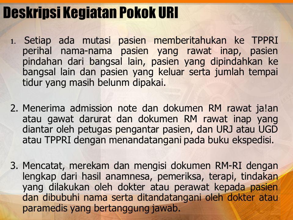 Deskripsi Kegiatan Pokok URI 1. Setiap ada mutasi pasien memberitahukan ke TPPRI perihal nama-nama pasien yang rawat inap, pasien pindahan dari bangsa