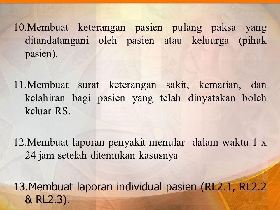 10.Membuat keterangan pasien pulang paksa yang ditandatangani oleh pasien atau keluarga (pihak pasien). 11.Membuat surat keterangan sakit, kematian, d