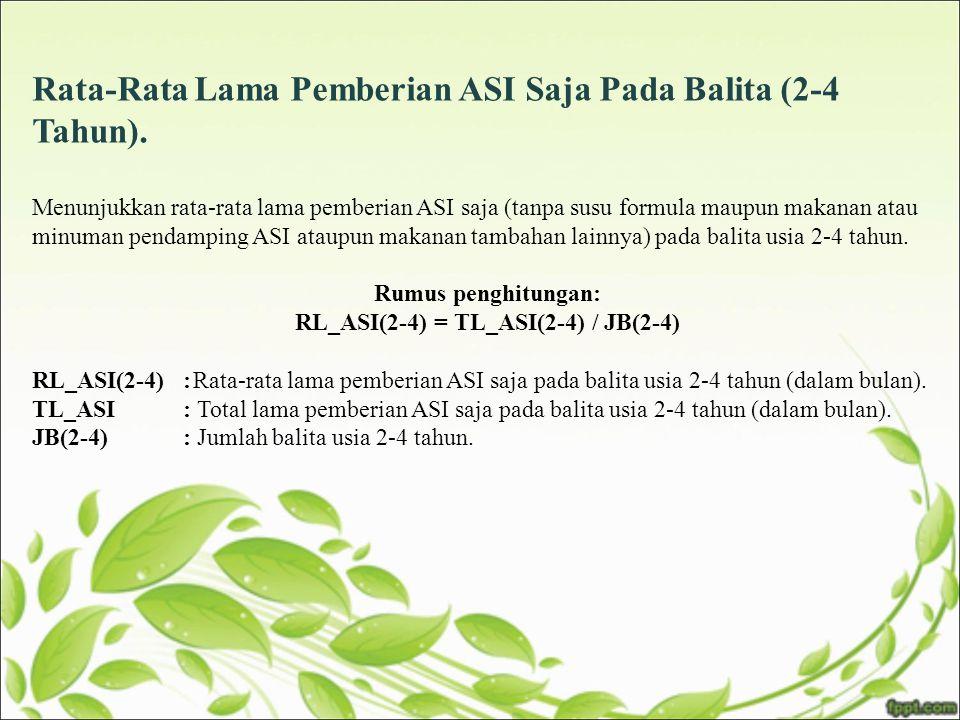 Rata-Rata Lama Pemberian ASI Saja Pada Balita (2-4 Tahun). Menunjukkan rata-rata lama pemberian ASI saja (tanpa susu formula maupun makanan atau minum