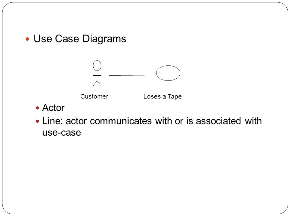 Use Case Diagrams Actor Line: actor communicates with or is associated with use-case CustomerLoses a Tape