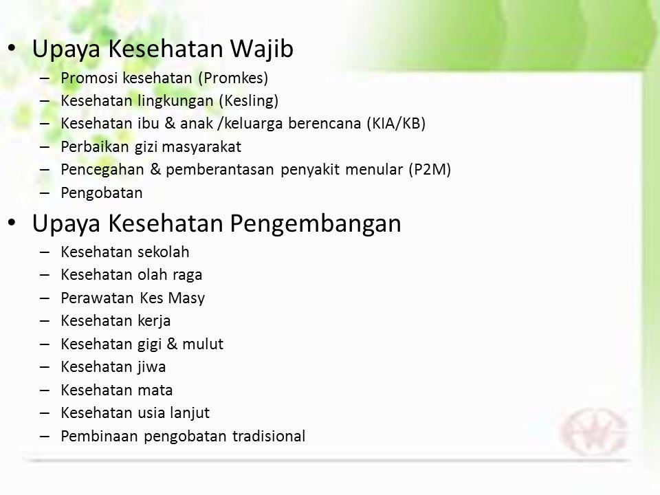Upaya Kesehatan Wajib – Promosi kesehatan (Promkes) – Kesehatan lingkungan (Kesling) – Kesehatan ibu & anak /keluarga berencana (KIA/KB) – Perbaikan g